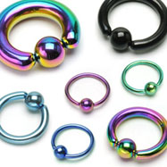"Titanium anodized captive bead ring with 3/8"" diameter, 14 ga"