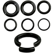 "Black Titanium/Stainless Steel Segment Rings with 1/2"" diameter"
