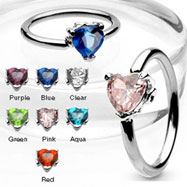 316L Surgical Steel Captive Bead Ring with Solitaire Heart CZ Stone