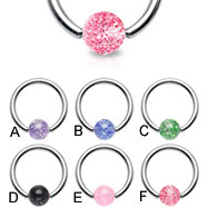 Captive bead ring with glitter ball, 16 ga