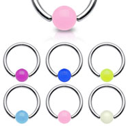 Captive bead ring with glow-in-dark ball, 16 ga