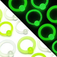 Glow-in-the-dark acrylic captive bead ring