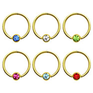 Gold Tone captive bead ring with gem, 14 ga