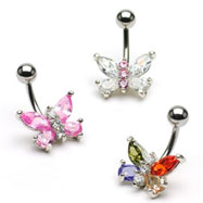 Small jeweled butterfly belly ring