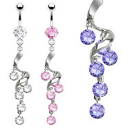 Belly ring with dangling swirled vine with gems