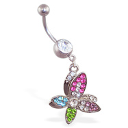 Belly ring with dangling crooked multi-colored butterfly