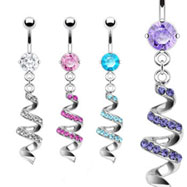 Belly ring with dangling jeweled twister