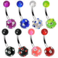 Acrylic UV belly ring with multiple gems