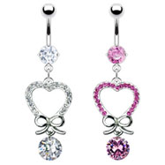 Belly ring with dangling jewel paved heart with bow and gem