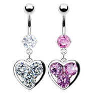 Belly ring with dangling heart with big gems