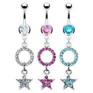 Navel ring with dangling jeweled star and circle