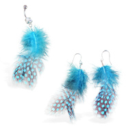 Teal Polka Dot Feather Belly Ring And Earring Set