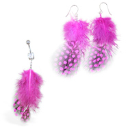 Pink Polka dot Feather Belly Ring and Earring Set
