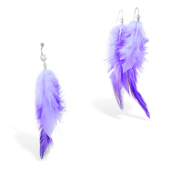 Purple Feather Belly Ring and Earring Set