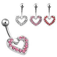 Jeweled heart navel ring
