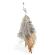 Belly ring with dangling white, black and brown feathers