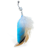 Belly ring with dangling gray, brown and turquoise feathers