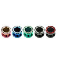Pair Of Titanium Anodized Jeweled Threaded Tunnels