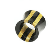 Pair Of Double Stripe Two Tone Ebony Areng & Jackfruit Wood Hollow Saddle Tunnels
