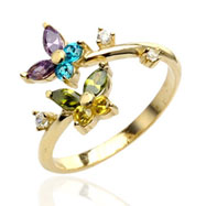 10Kt Real Gold Multi-Colored Jeweled Butterfly Toe Ring