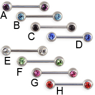 Straight barbell with double front facing gems