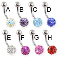 Belly ring with multi crystal paved ball