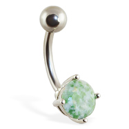 Navel ring with amazonite stone