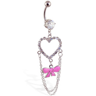 Navel ring with large dangling jeweled heart and bow with chains