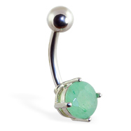 Belly Ring with Jade Fluorite Stone