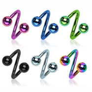 Titanium Anodized Twister Barbell, 16 Ga
