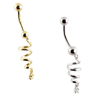 14K Gold belly button ring with dangling spiral and gem