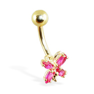 14K Gold magenta butterfly belly ring