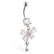 Navel ring with dangling clear butterfly and gems