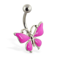 Fuschia butterfly belly ring