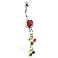 Belly ring with double dangling cherries