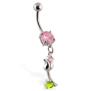 Navel ring with dangling flower on stem