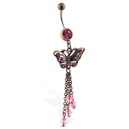 Antique style belly ring with dangling butterfly and dangles