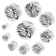 Pair Of White Tiger Print Acrylic  Saddle Plugs