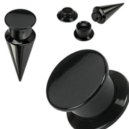 Pair Of 2-In-1 Interchangeable Black Acrylic Screw Fit Tapers