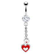 Navel ring with dangling red and white hearts