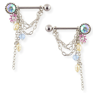 Pair Of Nipple Rings With Chains And Dangles, 14 Ga