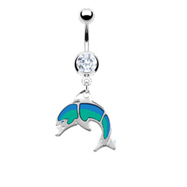 Navel Ring with Dangling Glossed Dolphin