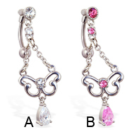 Reversed belly ring with dangling chandelier butterfly