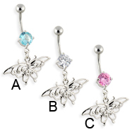 Belly ring with dangling vintage butterfly