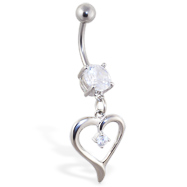 Navel ring with dangling heart with gem