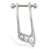 Straight helix barbell with dangling clear jeweled cuff , 16 ga