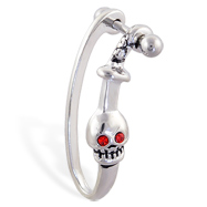 Straight helix barbell with dangling red eyed skull and sword cuff , 16 ga