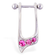 Straight helix barbell with dangling pink jeweled cuff , 16 ga