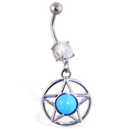 Belly ring with dangling blue stoned star