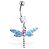 Belly ring with dangling lt blue and pink dragonfly